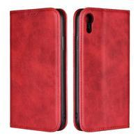 Wall PU kožené peňaženkové puzdro na mobil iPhone XR - červené