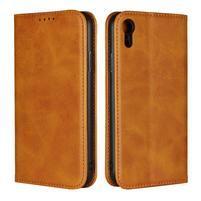 Wall PU kožené peňaženkové puzdro na mobil iPhone XR - svetlehnedé