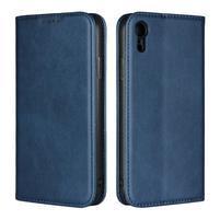 Wall PU kožené peňaženkové puzdro na mobil iPhone XR - modré