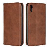 Wall PU kožené peňaženkové puzdro na mobil iPhone XR - hnedé