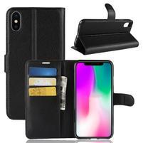 Litchi PU kožené peňaženkové puzdro na iPhone XR - čierne