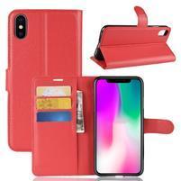 Litchi PU kožené peňaženkové puzdro na iPhone XR - červené