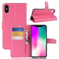 Litchi PU kožené peňaženkové puzdro na iPhone XR - rose