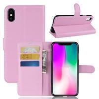 Litchi PU kožené peňaženkové puzdro na iPhone XR - ružové