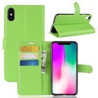 Litchi PU kožené peňaženkové puzdro na iPhone XR - zelené