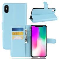 Litchi PU kožené peňaženkové puzdro na iPhone XR - modré