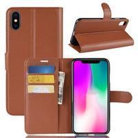Litchi PU kožené peňaženkové puzdro na iPhone XR - hnedé