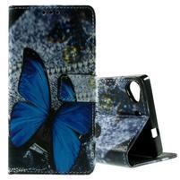 Peňaženkové PU kožené puzdro Lenovo Vibe X2 - Modrý motýľ