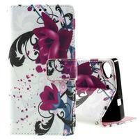 Peňaženkové PU kožené puzdro Lenovo Vibe X2 - kvety