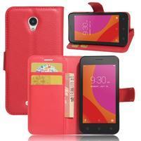 Graines peňaženkové puzdro pre Lenovo A Plus A1010 - červené