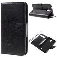 Butterfly PU kožené peňaženkové puzdro na Lenovo A536 - čierne