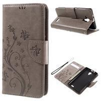 Butterfly PU kožené peňaženkové puzdro na Lenovo A536 - sivé