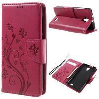 Butterfly PU kožené peňaženkové puzdro na Lenovo A536 - rose