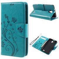 Butterfly PU kožené peňaženkové puzdro na Lenovo A536 - modré