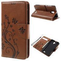 Butterfly PU kožené peňaženkové puzdro na Lenovo A536 - coffee