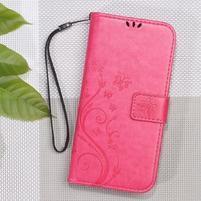 Butterfly PU kožené peňaženkové puzdro na Lenovo A6000 a A6010 - rose