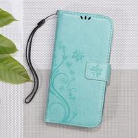 Butterfly PU kožené peňaženkové puzdro na Lenovo A6000 a A6010 - cyan