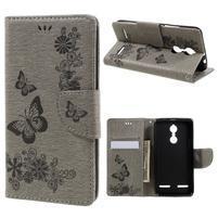 Butterfly knížkové puzdro pre mobil Lenovo K6 - šedé