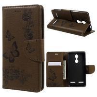 Butterfly knížkové puzdro pre mobil Lenovo K6 - hnedé