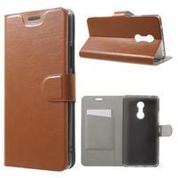Horse PU kožené puzdro pre mobil Lenovo K6 Note - hnedé