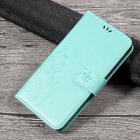 Butterfly PU kožené peňaženkové puzdro na Lenovo K6 Note - cyan