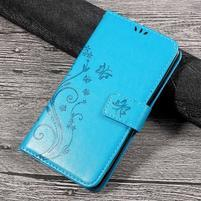 Butterfly PU kožené peňaženkové puzdro na Lenovo K6 Note - modré