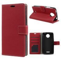Texture PU kožené puzdro pre mobil Lenovo Moto C - červené