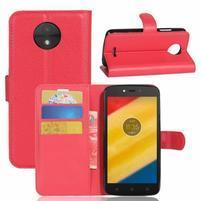 Graines knížkové puzdro pre mobil Lenovo Moto C Plus - červené