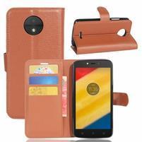 Graines knížkové puzdro pre mobil Lenovo Moto C Plus - hnedé