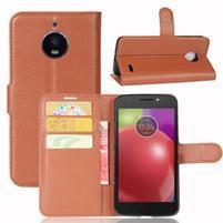 Grain PU kožené puzdro pre mobil Lenovo Moto E4 - hnedé