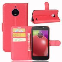 Grain PU kožené puzdro pre mobil Lenovo Moto E4 - červené