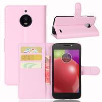 Grain PU kožené puzdro pre mobil Lenovo Moto E4 - ružové
