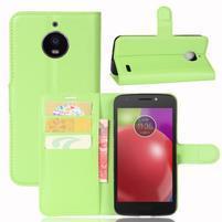 Grain PU kožené puzdro pre mobil Lenovo Moto E4 - zelené