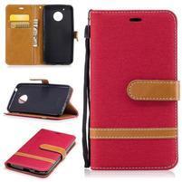 Jeansy PU kožené/ textilné puzdro na Lenovo Moto G5 - červené