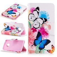 Emotive PU kožené puzdro pre Lenovo Moto G5 - kvetinoví motýľe