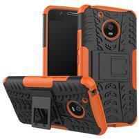 Outdoor odolný obal so stojančekom na Lenovo Moto G5 - oranžový