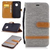 Jeansy PU kožené/ textilné puzdro na Lenovo Moto G5 Plus - sivé