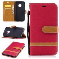 Jeansy PU kožené/ textilné puzdro na Lenovo Moto G5 Plus - červené