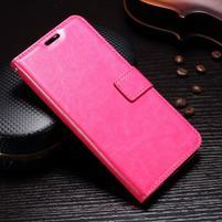 Wallet PU kožené knižkové puzdro na Lenovo Moto G5s - rose
