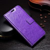 Wallet PU kožené knižkové puzdro na Lenovo Moto G5s - fialové