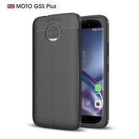 Litchi odolný gélový obal s textúrovaným chrbtom na Lenovo Moto G5s Plus - čierny