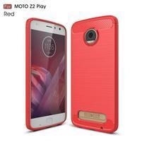Carbo brúsený odolný obal na Lenovo Moto Z2 Play - červený