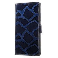 Snake PU kožené puzdro pre mobil Lenovo P2 - modré