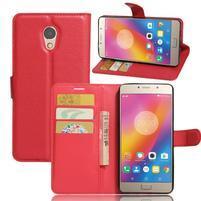 Grianes PU kožené puzdro pre mobil Lenovo P2 - červené