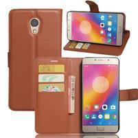 Grianes PU kožené puzdro pre mobil Lenovo P2 - hnedé