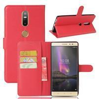Graines PU kožené puzdro pre mobil Lenovo Phab 2 Plus - červené