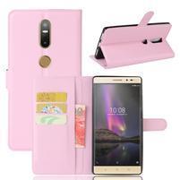 Graines PU kožené puzdro pre mobil Lenovo Phab 2 Plus - ružové