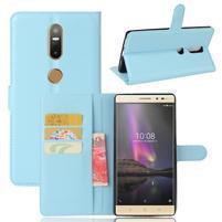 Graines PU kožené puzdro pre mobil Lenovo Phab 2 Plus - modré