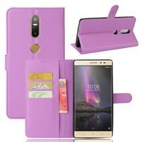 Graines PU kožené puzdro pre mobil Lenovo Phab 2 Plus - fialové