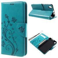 Butterfly PU kožené peňaženkové puzdro na Lenovo S850 - modré